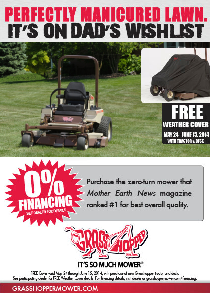 Father's Day Free Zero Turn Mower Cover