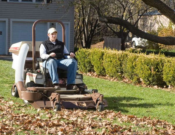 Lawn Care Tip Of The Month Leaf Removal Grasshopper Mower